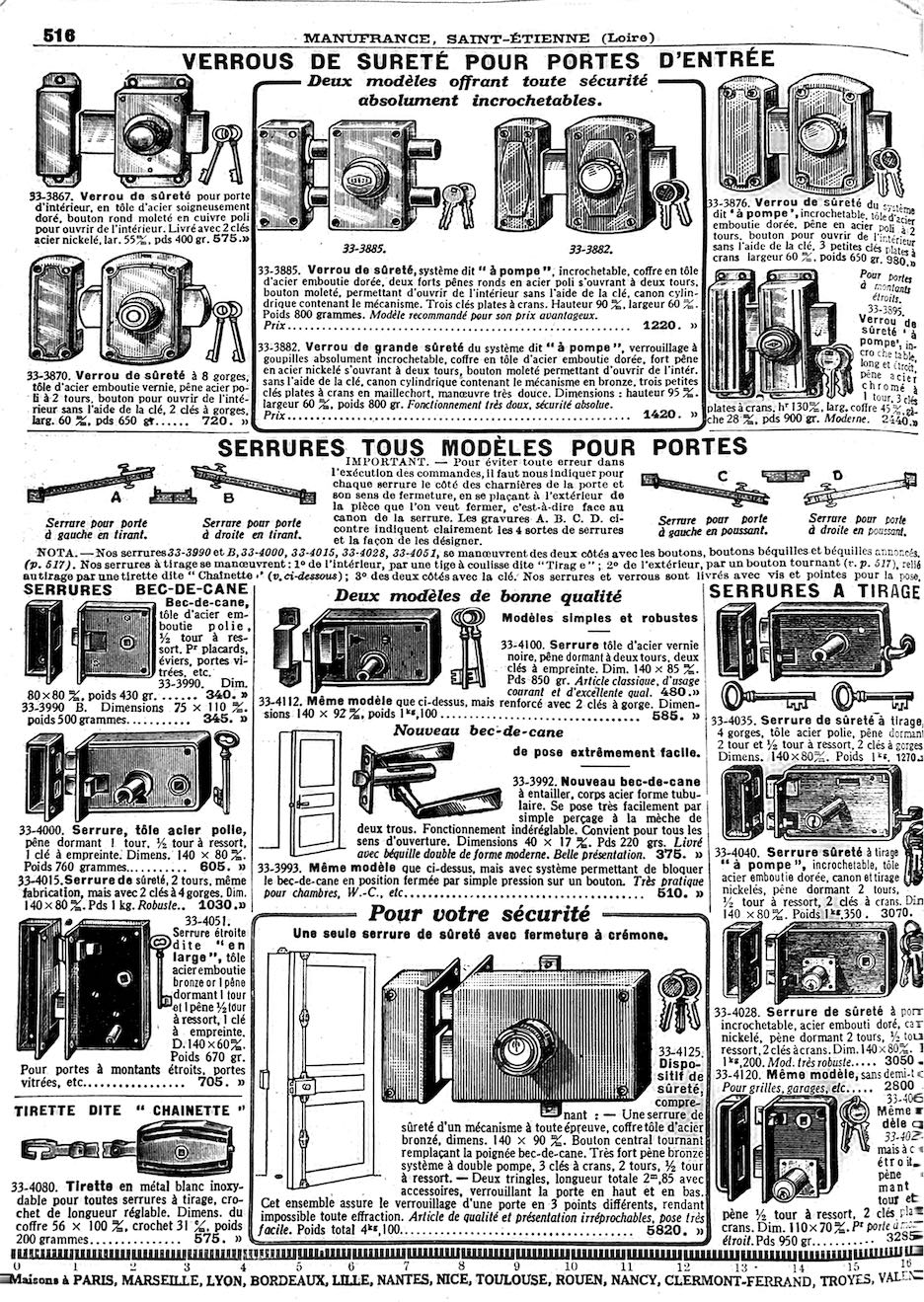 Manufrance - Verrous de sûreté
