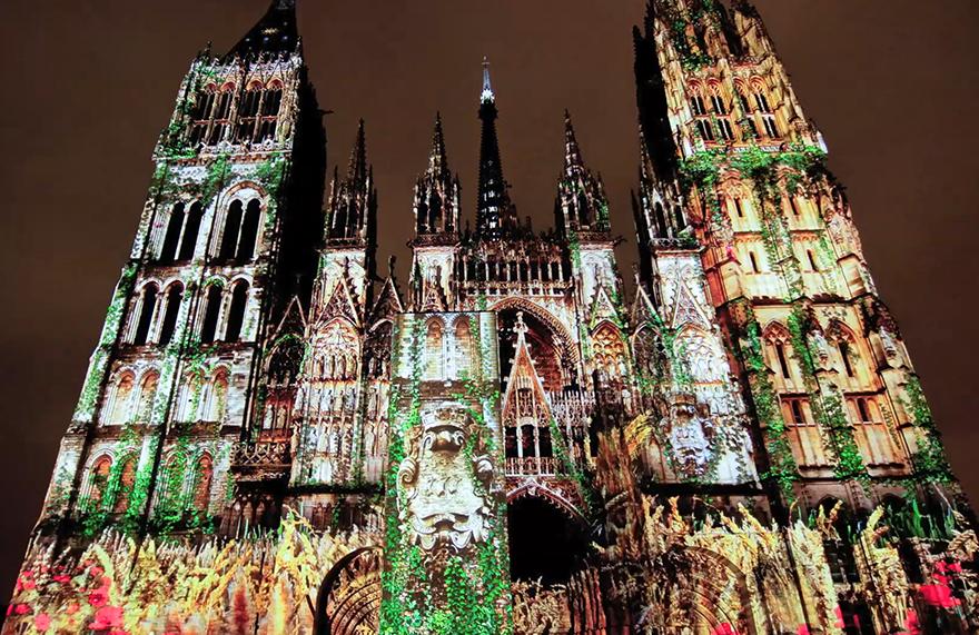 Cathédrale de lumière à Rouen (vidéo 50s)