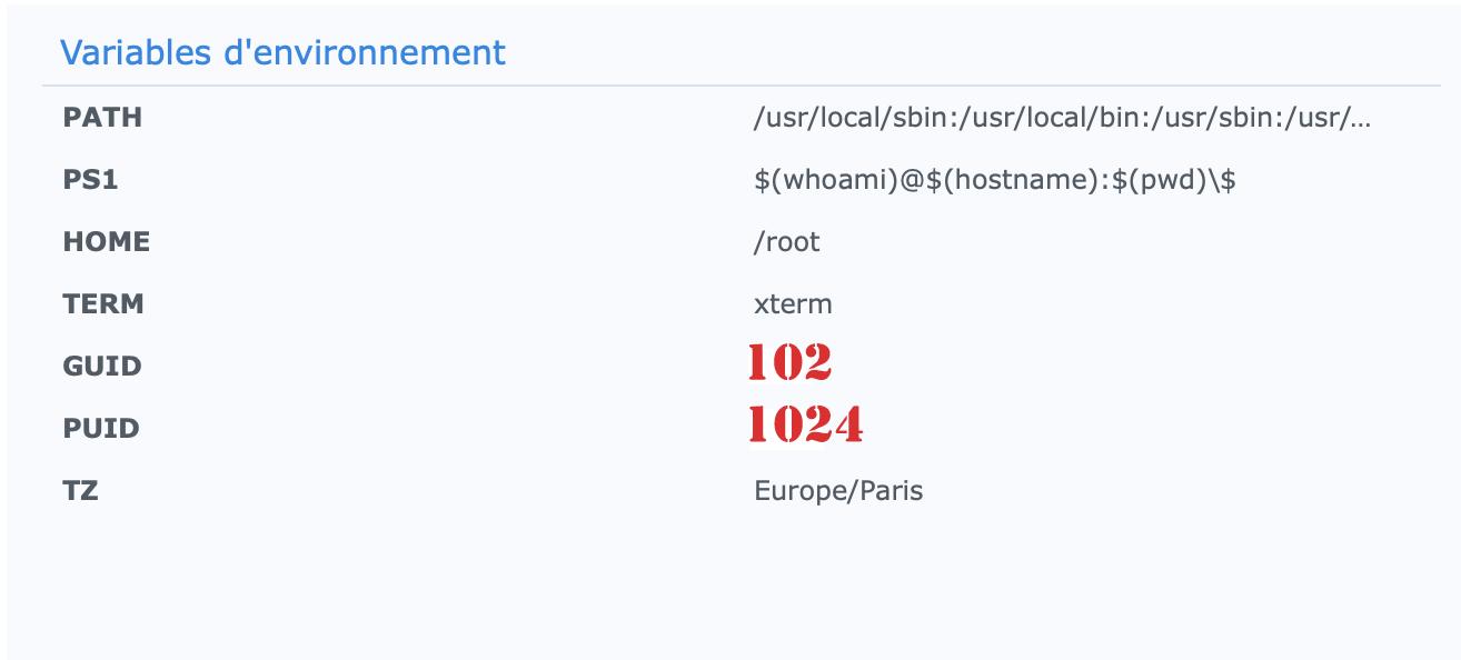 Docker - variables environnement